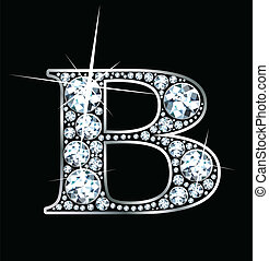 "Diamond ""B\"" - A stunningly beautiful \""B\"" set in diamonds..."