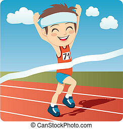 Athlete Man - Young athlete man winning Olympic games sprint...