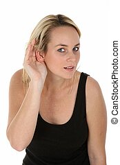 Pretty Blond Girl Hard of Hearing - Young hard of hearing...