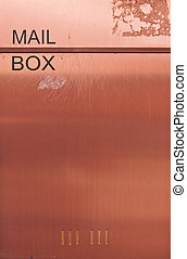 Orange brown metal mailbox - Old and dirty orange brown...