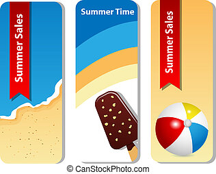 Summer set - Vector set with summer sale background