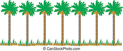 Palm trees - Group of palm trees on white background.
