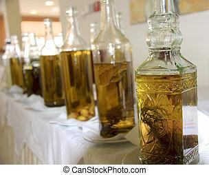 Bottles of olive oilvinegar