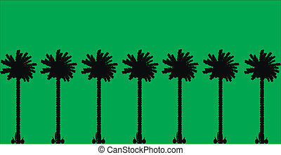 Palm trees - Group of palm trees on green background.