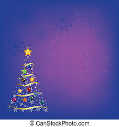 christmas tree with decorations on pink background