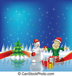 christmas tree with dwarf and snowman on blue background