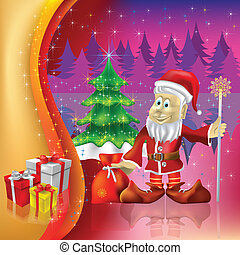christmas tree with Santa Claus on a purple background