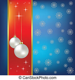 Christmas vector background nacreous balls and snowflakes