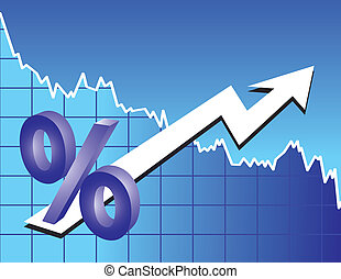 percent sign with arrow on stock trend background