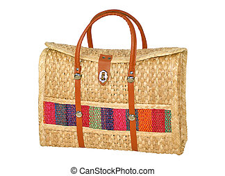 Hand-Made Woven Handbag Isolated on White - hand-made woven...
