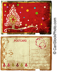 Grunge card with Christmas tree and