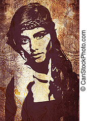 graffiti woman on wall