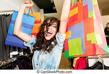 Excited female stere bags