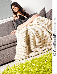 Female sofa blanket