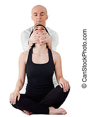 Woman neck thai massage - Young female sitting and receiving...