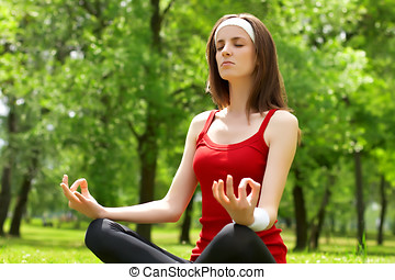 yoga - Young woman practice yoga in natural environment