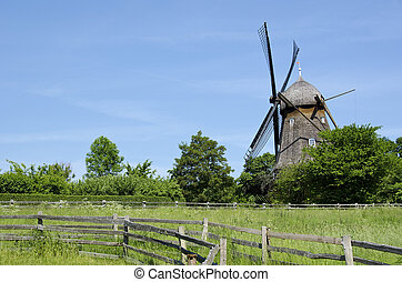 Traditional wooden wind mill