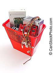 Old electronics devices in garbage - Garbage bin full of old...