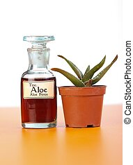 Aloe Ferrox plant and extract in bottle