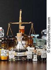 Various pharmacy chemicals of homeopathic medicine, scale in...