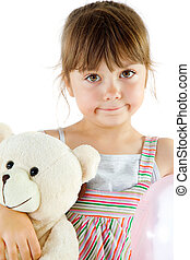 Little girl teddy bear - Portrait of a sweet little girl...