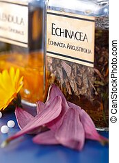 Close view of Echinacea Angustifolia plant extract and the...
