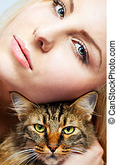 female and cat