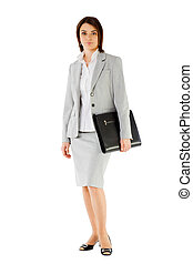 Businesswoman briefcase suit - Serious beautiful...