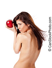 Naked woman with apple