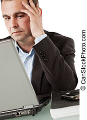 in corner worried businessman