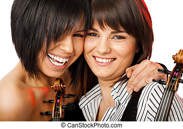 cheek to cheek smiling violinists - Two beautiful girls...