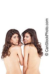 Naked twins smiling