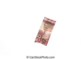Creased canadian fifty dollar bill - Creased Canadian fifty...