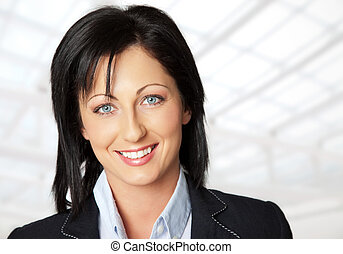 pleased businesswoman - Portrait of beautiful young woman...