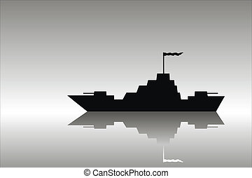 Warship - Vector silhouette image of a warship .