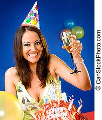 Female celebrating birthday