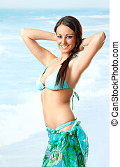 Female sea swimsuit - Portrait of young beautiful female...