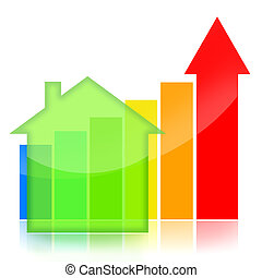 Housing market business charts with green house and colorful...