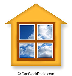 Cozy House - Cozy warm house with blue sky in windows
