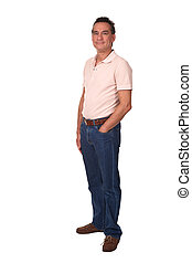 Full Length Portrait of Smiling Man - Full Length Portrait...