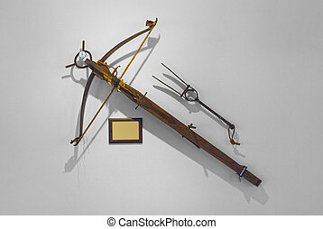 Antique crossbow in exposition with plaque