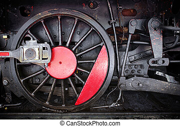 Locomotive Wheel - Detail of one wheel of a vintage steam...