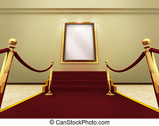 Grand Gallery - Red carpet leading up to the stairs to a...