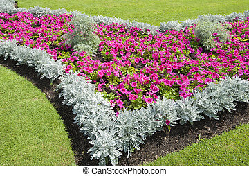Flowerbed in a park - Large flowerbed in a rural park