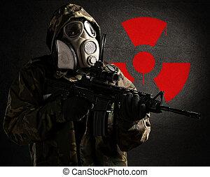 soldado, gás, máscara