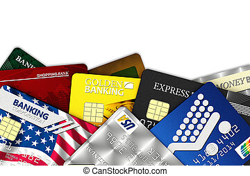 Fake credit cards - A bunch of fake credit cards over white...