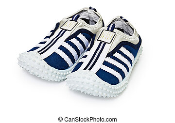 Sports inexpensive shoes on white