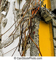 Earthquake damage - Detail of ruined house after earthquake...