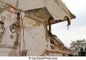 Ruined house - Damaged house after strong earthquake natural...