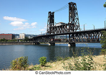 The steel bridge, Portland OR. - The steel bridge a busy...